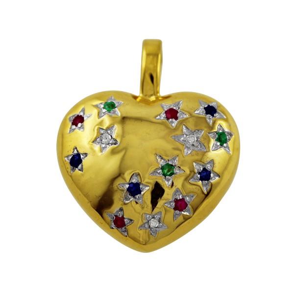Anhänger Herzanhänger Gold 333 roter Rubin, blauer Saphir, grüner Smaragd Edelstein weißen Diamanten 0,03ct W/P