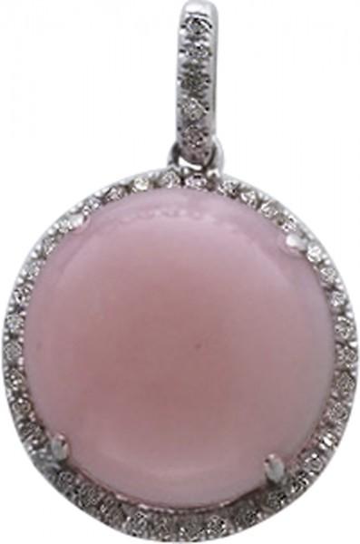 Anhänger Weißgold 333 rosa Opal 44 Dia...