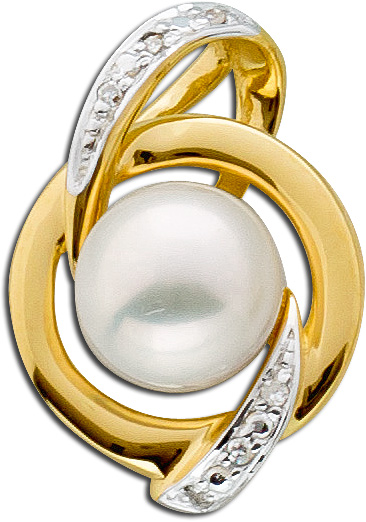 Weißer Perlen Anhänger Gelb Gold 585 Diamant 0,02ct W/P Süßwasserzuchtperle 1 Diamantanhänger