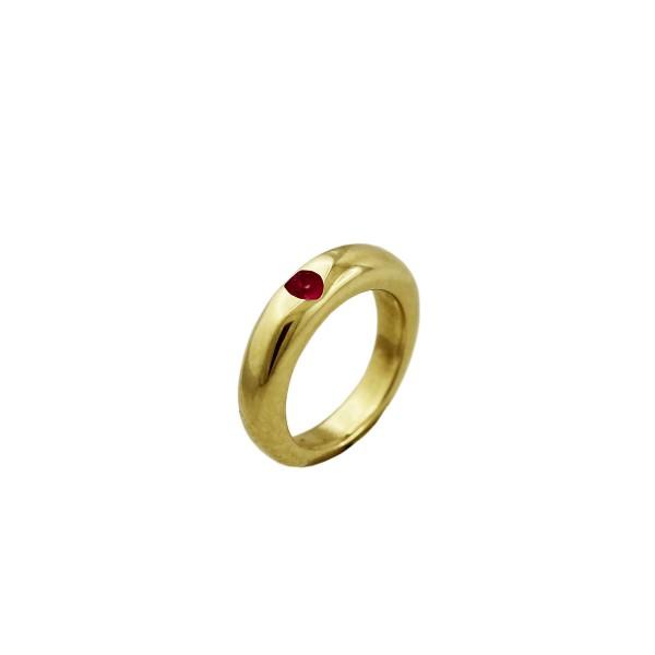 RubinTaufring Gelb Gold 333 roter Rubin ...
