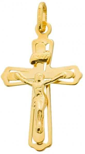 Kreuzanhänger Gelbgold 375 Jesus