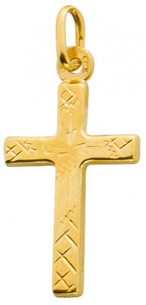 Kreuzanhänger Gelbgold 375 Verzierungen