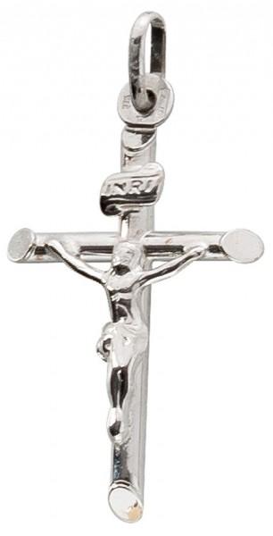 Kreuzanhänger Weissgold 375 Jesus INRI