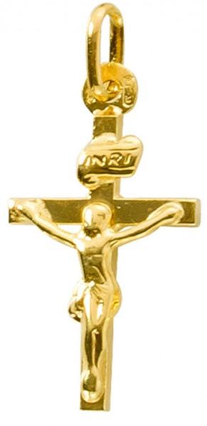 Kreuzanhänger Gelbgold 375 Jesus INRI