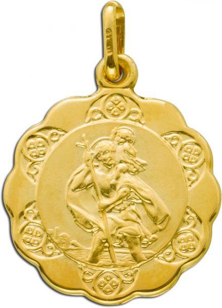 UNO A ERRE Anhänger heiliger Christopherus Gold 375 Goldanhänger
