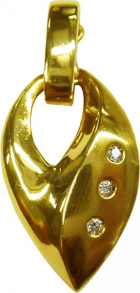 Clipanhänger in Gelbgold 585/- poliert mit 3 Brillanten zusammen 0,03 ct, Anhänger 20mm lang und 12mm Breit Lochgröße 3,5mm
