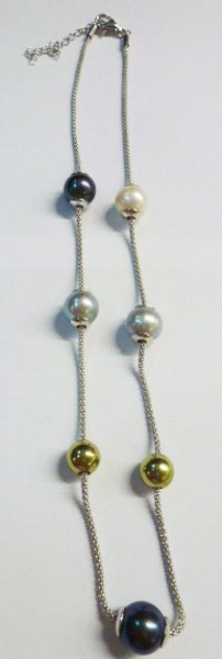 Collier 42+5cm Verlängerungmit bunten suesswasserperler und beads aus Silber Sterlingsilber 925/- mit Karabinerversschluss