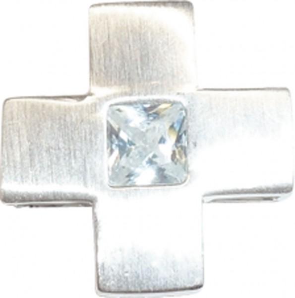 Anhänger Kreuz in echten 925/- Silber Sterlingsilber, mit Zirkonia, Maße 18x18mm, Gewicht 5,0g, mattiert