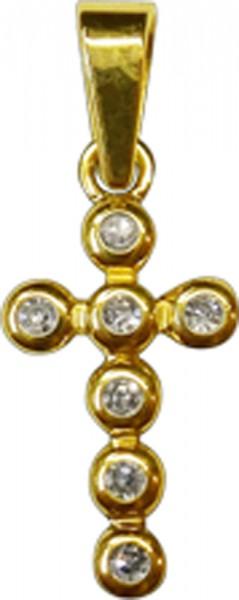 Anhänger in Gelbgold 585/-Kreuz mit 7 Brillanten a0,01ct zusammen 0,07ct W/SIin feine Goldfassungen gefasst, lg 4mm, breite 8mm, länge 19mm,poliert