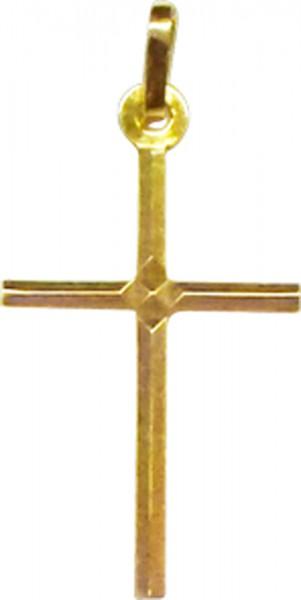Kreuzanhänger in Gelbgold585/-, Länge 25mm, LG 3mmpoliert