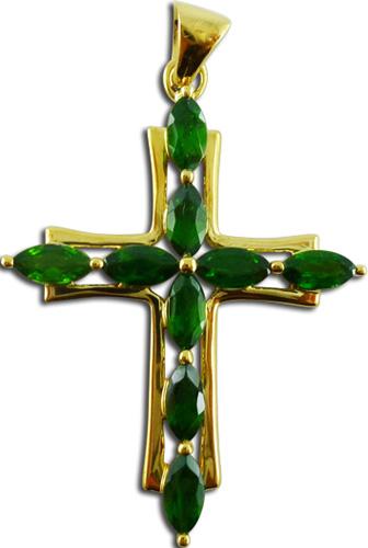Anhänger Kreuz mit Steinen 9 Navettes Chrysopras grün 9kt  3,2g Gelbgold 5x3mm
