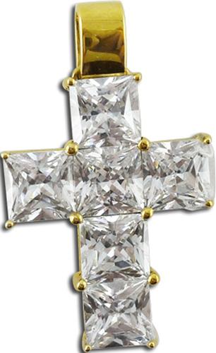 Anhänger Kreuz weisse Zirkonia Steine poliert 333 8kt Gelbgold