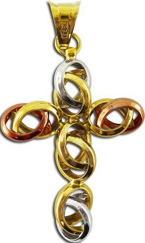 Anhänger Kreuz verschlungen 8kt Gelbgold Weißgold Rotgold 2,6g 45x25mm