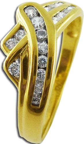 Ring Zirkonia im Brillant-look 8kt Gelbgold 1,9g Gr.18 gekreuzte Form