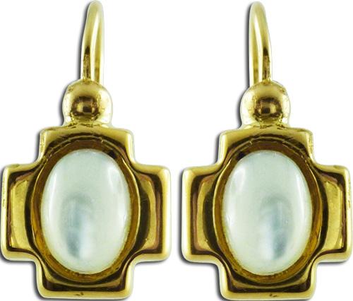 Ohrhänger Kreuz Mondsteincabochons 14kt Gelbgold