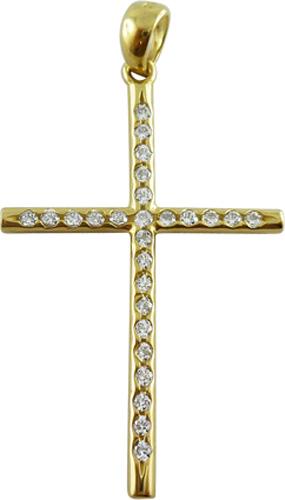 Kreuzanhänger in Gelbgold 585/- mit 26 Zirkonia, Lg 3,5 x 2,6mm