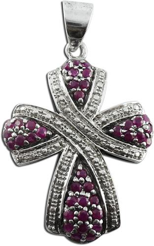 Kreuz-Anhänger in Silber Sterlingsilber 925/- mit 38 Rubine