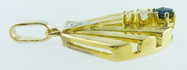 Anhänger Weißgold Gelbgold 585 1 Saphi...