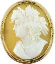 Antik Brosche 585 Gelbgold Kamee Gemme A...