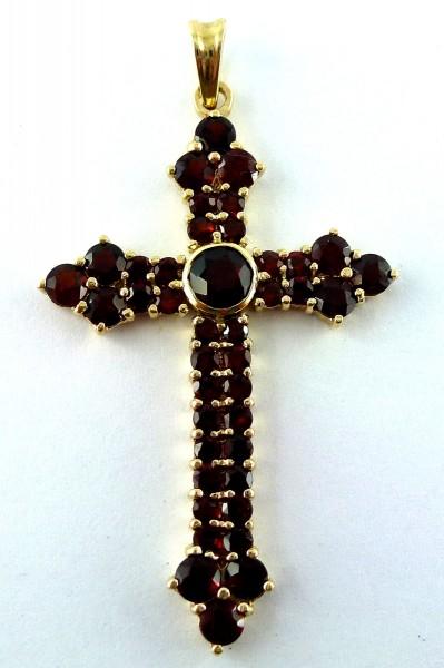 Kreuzanhänger – Edelsteinanhänger – Goldanhänger Gelbgold 9Kt/375 Granatsteine