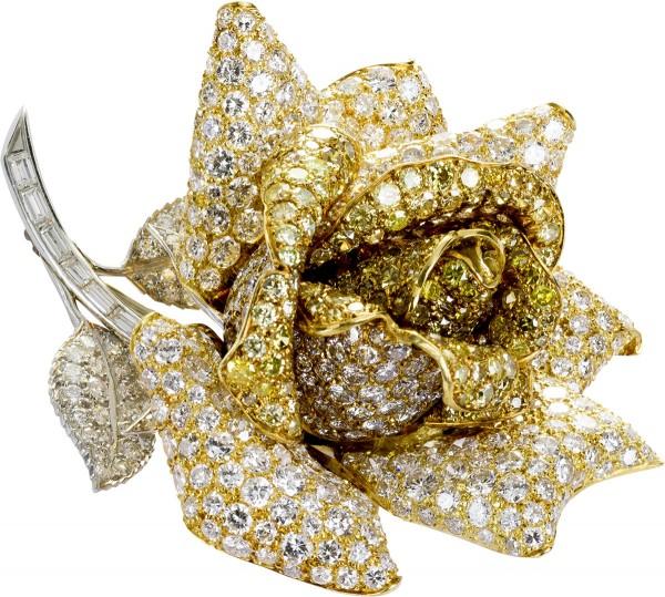 Diamantbrosche Rose Anstecknadel Gelbgol...