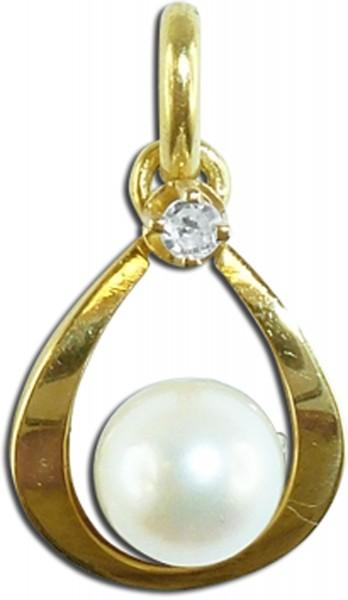 Perlenanhänger, Gelbgold 585/-, jap. A...