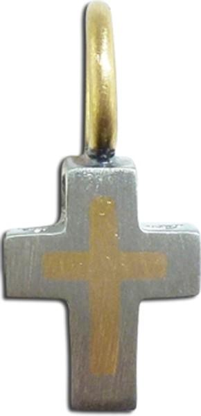 Kreuzanhänger exclusiv, Platin 950/- , feinste Gelbgoldeinlage 750/-