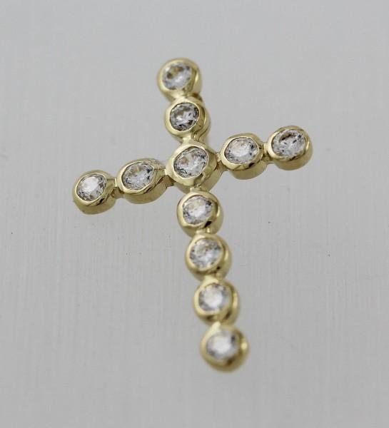 Goldanhänger – Kreuzanhänger Gelbgold 585 Zirkonia