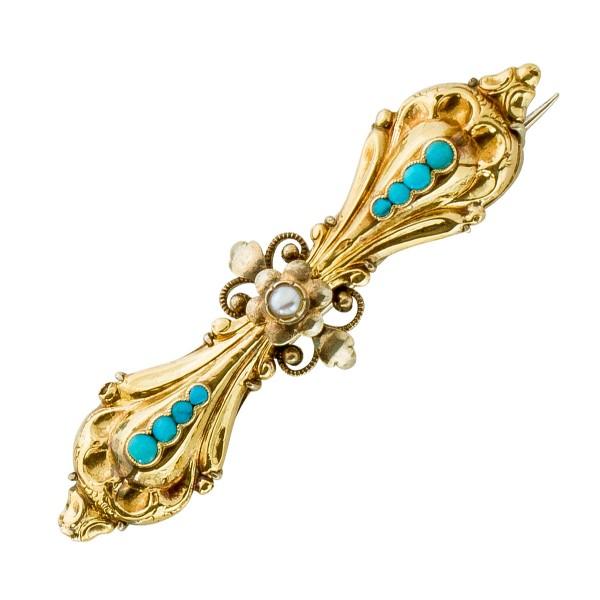 Brosche Antik Weißgold Gelbgold Weißgold 585 Türkis Edelsteine Orient Perle weiß Biedermeier Epoche um 1860