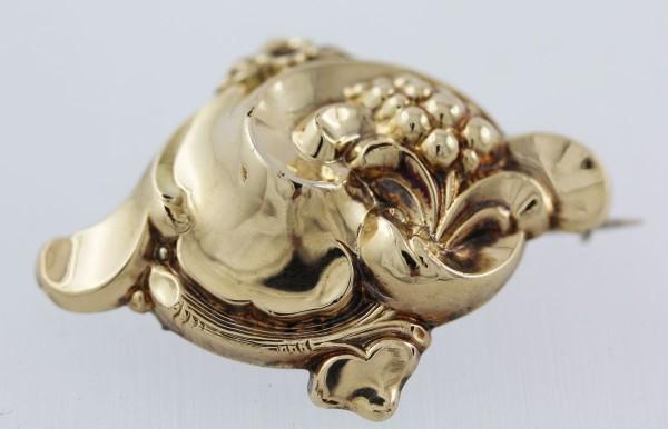 Brosche Anstecknadel Antik Gelbgold 585 Silber 800 Biedermeier Epoche um 1840 Blumenstrauß