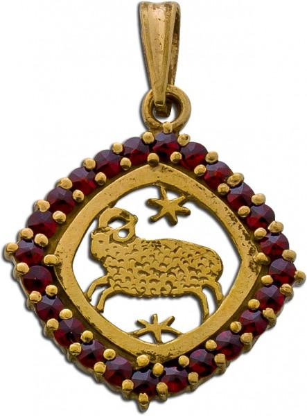 Anhänger Silber 900 vergoldet Sternzeichen Widder Granat antik 30er Jahre