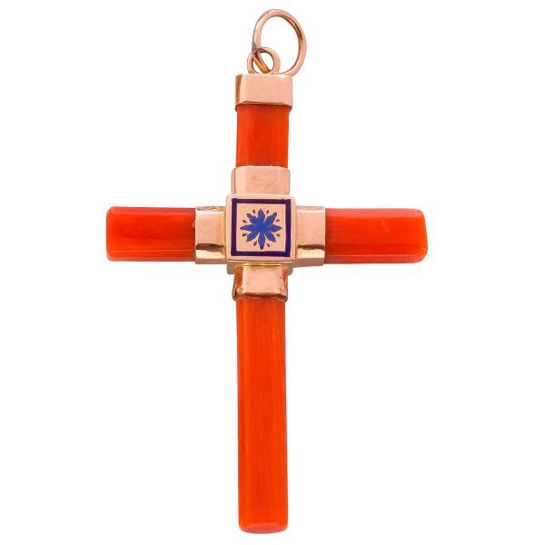 Kreuzanhänger Rosegold750 Koralle Antik 50er Jahre