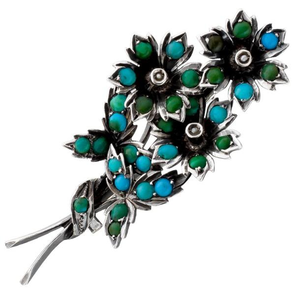 Brosche Silber 800 um 1860 32 blau-grüneTürkis Edelsteine Cabouchonschliff 3 Orientperlen Blütenknospe