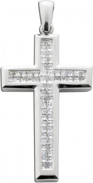 Diamantanhänger Kreuzanhänger Weißgold 585 62 Diamanten 1,30ct River-TW/VS-SI Carree Schliff mit IGI Zertifikat