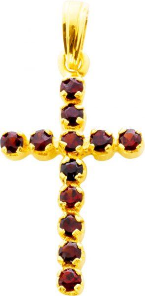 Kreuz Edelsteinanhänger Granat Gelbgold 750 Antik