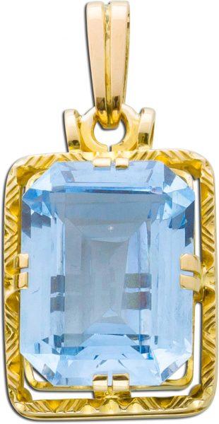 Schmuckanhänger blauer Spinell Antik um 1970 Gelbgold 585