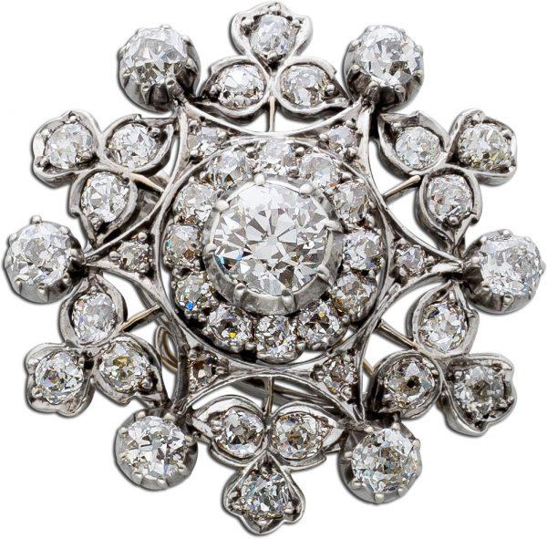 Diamantanhänger Antiker Platin 950 Anhänger Brillanten 6,20ct TW-W/vSI2 Gelbgold 750 mit IGI Zertifikat
