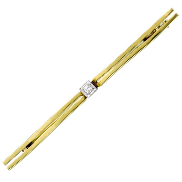 Anstecknadel – Brosche antik Gelbgold Weißgold 585 30er Jahre Top Zustand Brillant 0,05ct TW/VSI