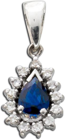 Antiker Anhänger um 1950 Weißgold 333 Saphir Diamanten 0,13ct W/SI