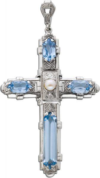 Antikes Kreuz um 1900 synth. Blautopasen Flussperle Silber 835