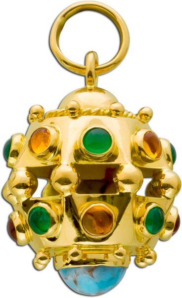 Antiker Anhänger Sputnik Gelbgold 750 grünen Chrysoprasen gelben Citrin türkisen Türkisen Edelsteinen Cabochonschliff 50er Jahre
