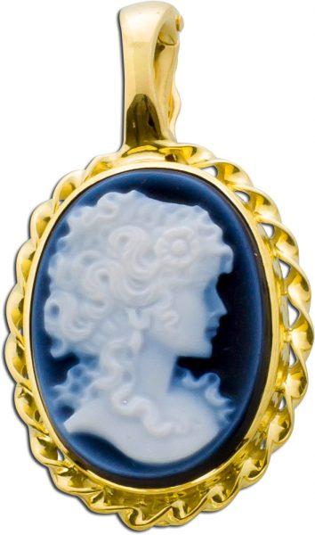 Antiker Anhänger Gemme Gelbgold 585 klassisch Frauenkopf anthrazit weiss Antik um 1950 Einhängeclip