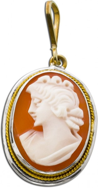 Antiker Gemmenanhänger um 1870 Weißgold Gelbgold 333
