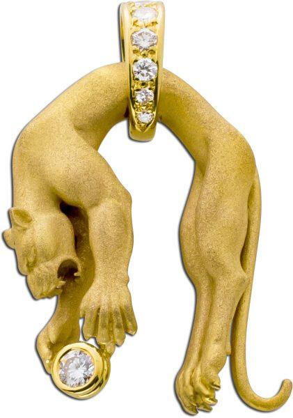 Anhänger Jaguar Gelbgold 750 18k Brilla...