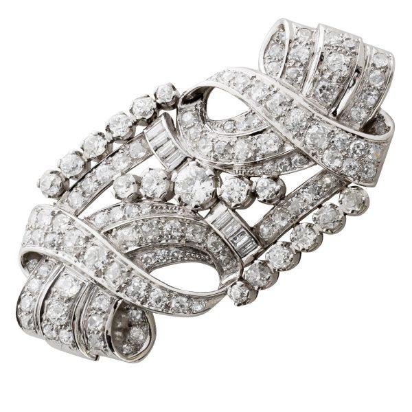 Antike Art Deco Kronjuwelen Brosche Anstecknadel Platin 950 Tiffany Style IGI zertifiziert