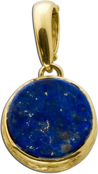 Antiker Anhänger blauer Lapislazuli poliert Gelbgold 585 um 1970