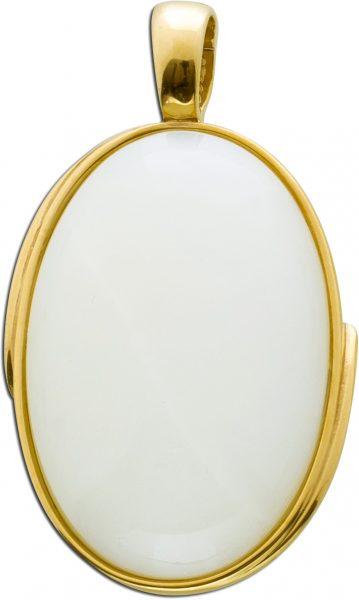 Einhängeclip Anhänger weißer Mondstein Cabochon Schliff Gelbgold 333