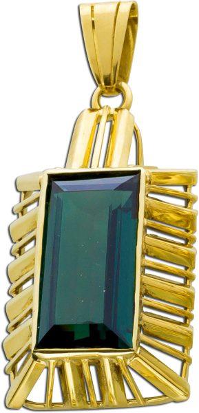 Antiker Anhänger 1900 Gelbgold 585 grüner synthetischer Turmalin im feinsten Edelsteinlook Einzelstück