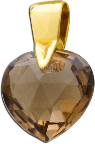 Rauchquarzanhänger Herz Gelbgold 333 cognac-braun funkelnd facettiertes Edelstein-Herz Einzelstück