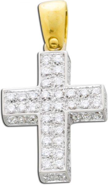 Brillantkreuz Weißgold Gelbgold 750 Bri...